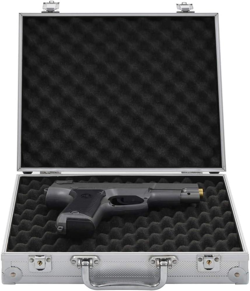 Festnight Maletín para Armas Pistolas Maleta con Cerradura de Combinación de Aluminio y ABS Plateado 31 x 26 x 8,3 cm