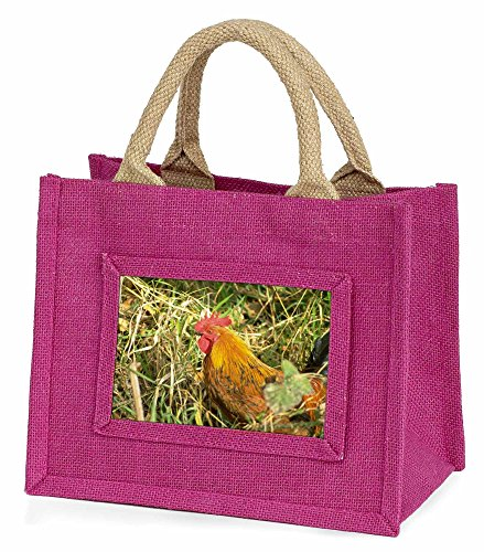 Advanta–Mini Pink Jute Tasche Henne in Stroh Little Mädchen klein Einkaufstasche Weihnachten Geschenk, Jute, pink, 25,5x 21x 2cm