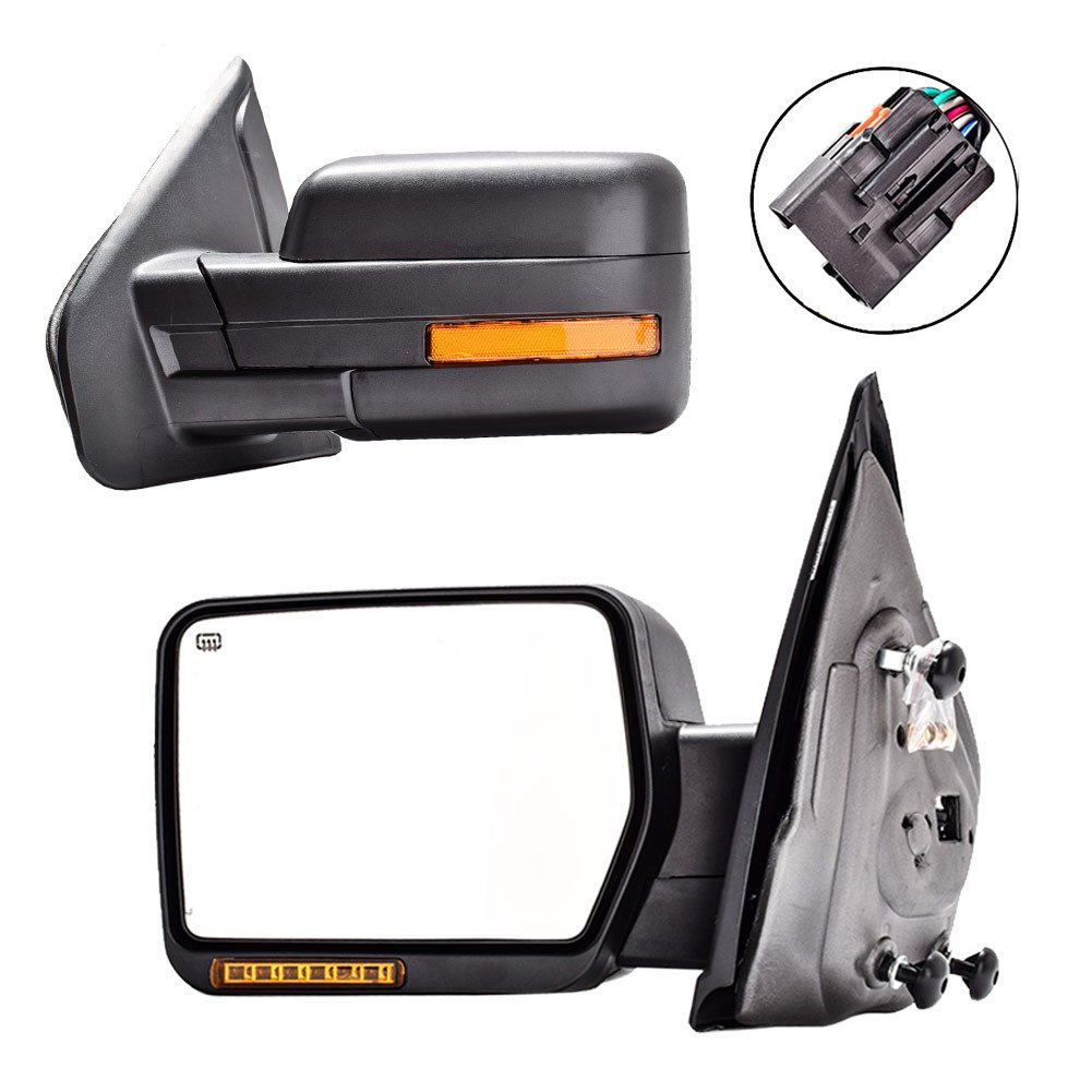 DEDC Towing Mirrors Ford F150,Ford Tow Mirrors,2007-2014 Pair Power Heated,Turn Signal Lights,Back Reflector 2007 2008 2009 2010 2011 2012 2013 2014 CTPKMRF3349EB