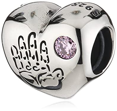 Pandora Women's 925 Sterling Silver Round Pink Cubic Zirconia Baby Girl Charm  Bead