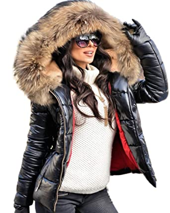 82abe5bbcc6 Aofur Womens Ladies Quilted Winter Coat Fur Collar Hooded Down Jacket Parka  Outerwear (Small