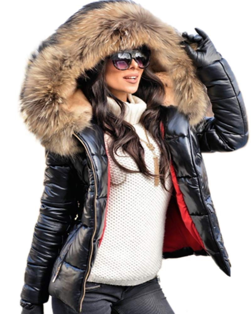 Aofur Womens Ladies Quilted Winter Coat Fur Collar Hooded Down Jacket Parka Outerwear (Small, Black)