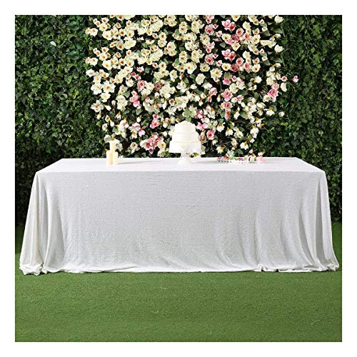 3e Home 50x80 Rectangle Sequin Tablecloth for Wedding Party Cake Table, White