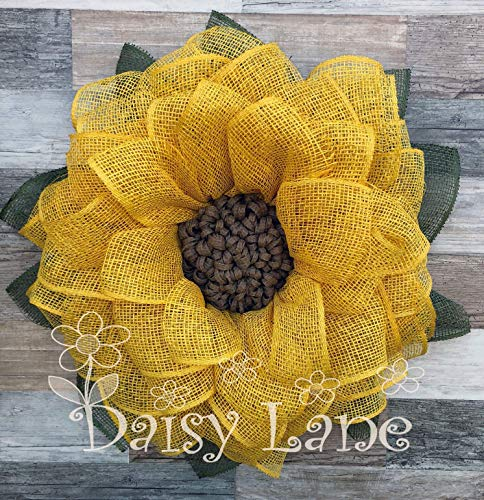 Yellow Sunflower Wreath with Seeded Center