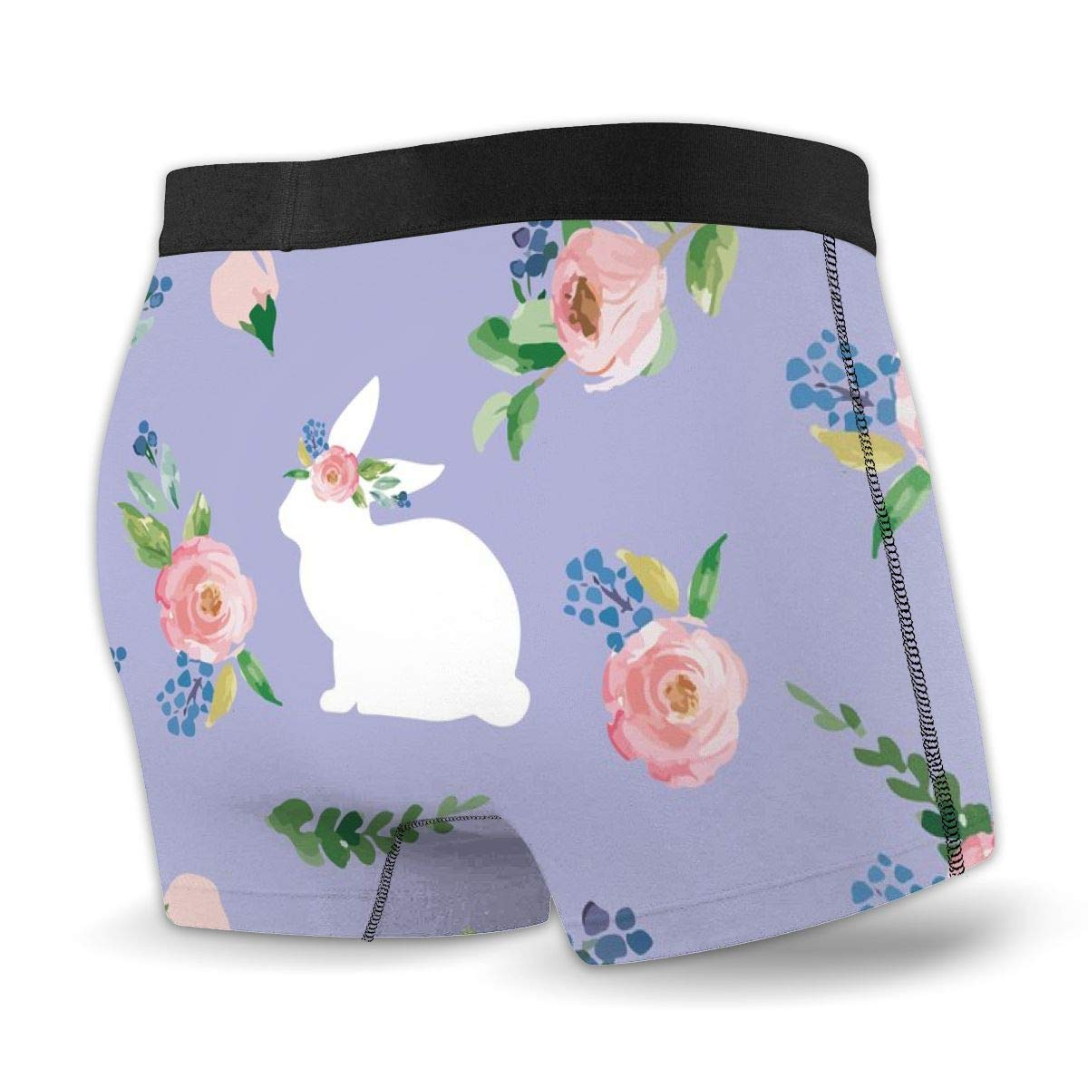 Mens no Ride-up Boxer Briefs,Purple Easter Bunnies Spring Floral/_533