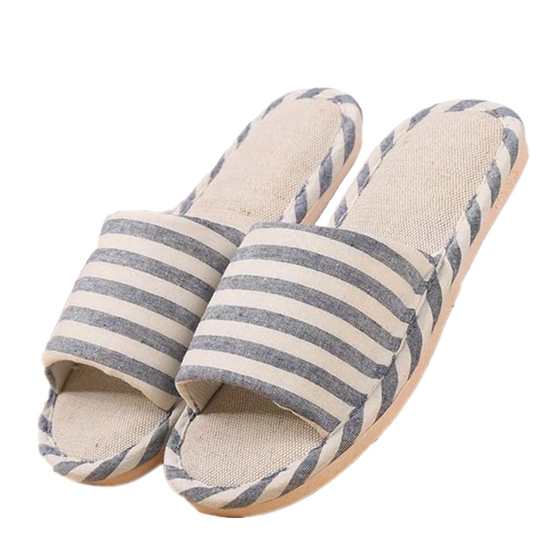 Kook Club Linen Slipper in Japanese Style Simple Line and Comfort Touch Jean Blue