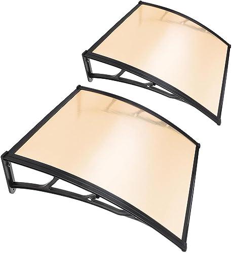 Yescom 2Pcs 40×40 Window Door Awning Sun Shade Canopy One-Piece Polycarbonate Sheet UV Rain Protection Outdoor