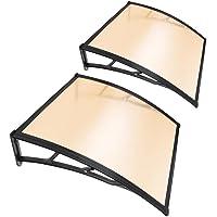 "Yescom 2Pcs 40x40"" Window Door Awning Sun Shade Canopy One-piece Polycarbonate Sheet UV Rain Protection Outdoor"