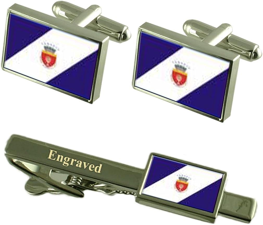 Onesti Ciudad Bandera Rumania Gemelos Grabado Set Clip de Corbata