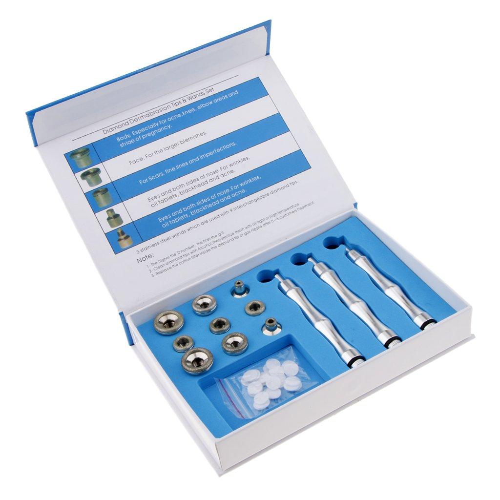 Baoblaze Diamond Wands Cotton Filter Skin Peel Microdermabrasion Facial Care Tool with 9 Tips 3 Wands Diamond Dermabrasion Accessory Tips