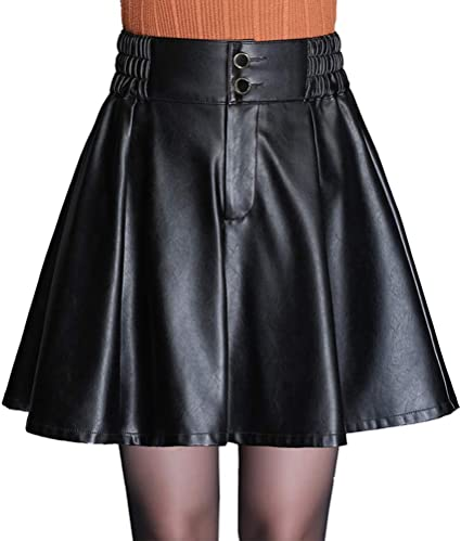 Otoño e Invierno Sexy Ropa de Mujer PU Falda de Cuero Falda ...