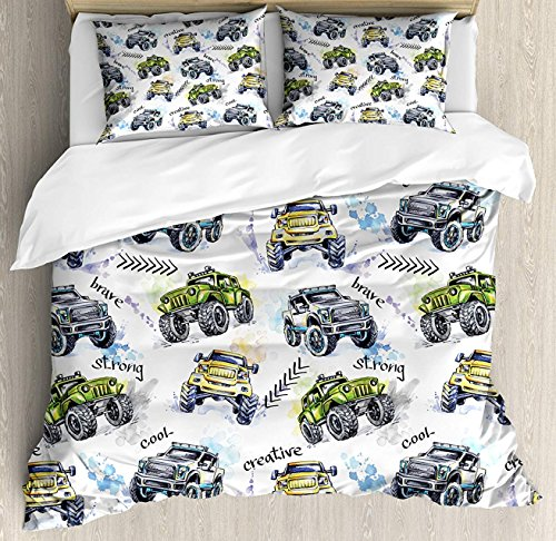 (Hostline Cars Duvet Cover Set Twin Size, Hand Drawn Watercolored Monster Trucks Enormous Wheels Off Road Lifestyle, Decorative 4 Piece Bedding Set with 2 Pillow Shams, Yellow Lavander Blue)