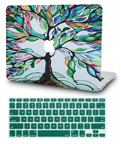 """KECC Laptop Case for MacBook Air 13"""" Retina (2020/2019/2018, Touch ID) w/Keyboard Cover Plastic Hard Shell Case A1932 2 in 1 Bundle (Colorful Tree)"""