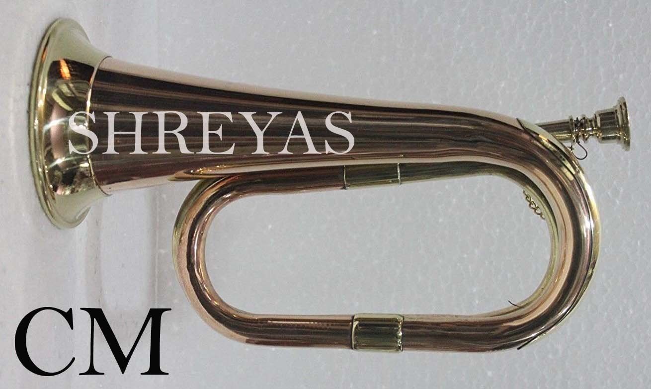 Bugle Brass With Bugle Instrument W/Case Gold Manufacture By Shreyas shry06