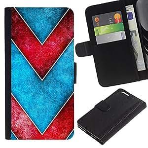 """Apple (5.5 inches!!!) iPhone 6+ Plus , la tarjeta de Crédito Slots PU Funda de cuero Monedero caso cubierta de piel ("""" Chevron Blue Red Watercolor Pattern"""")"""