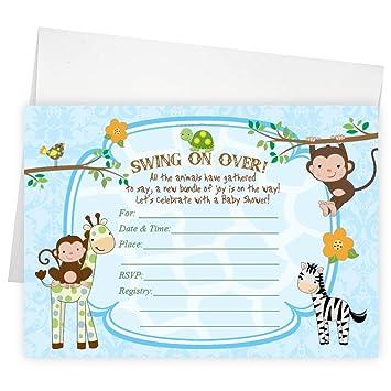 Amazon monkey giraffe baby shower invitations birthday party monkey giraffe baby shower invitations birthday party invitation filmwisefo