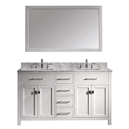 Virtu Usa Caroline 60 Inch Double Sink Bathroom Vanity Set In White W Square Undermount Sink Italian Carrara White Marble Countertop No Faucet 1