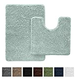 GORILLA GRIP Original Shaggy Chenille Bathroom 2 Piece Rug Set Includes Mat...