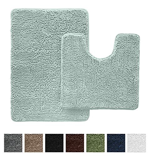 Machine Traditional Rug Made (GORILLA GRIP Original Shaggy Chenille Bathroom 2 Piece Rug Set Includes Mat Contoured for Toilet and 30 x 20 Carpet Rugs, Machine Wash/Dry, Perfect Plush Mats for Tub, Shower, and Bath Room (Spa Blue))