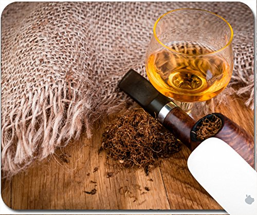 Price comparison product image Luxlady Gaming Mousepad 9.25in X 7.25in IMAGE: 34329542 smoking pipe and cognac on vintage style