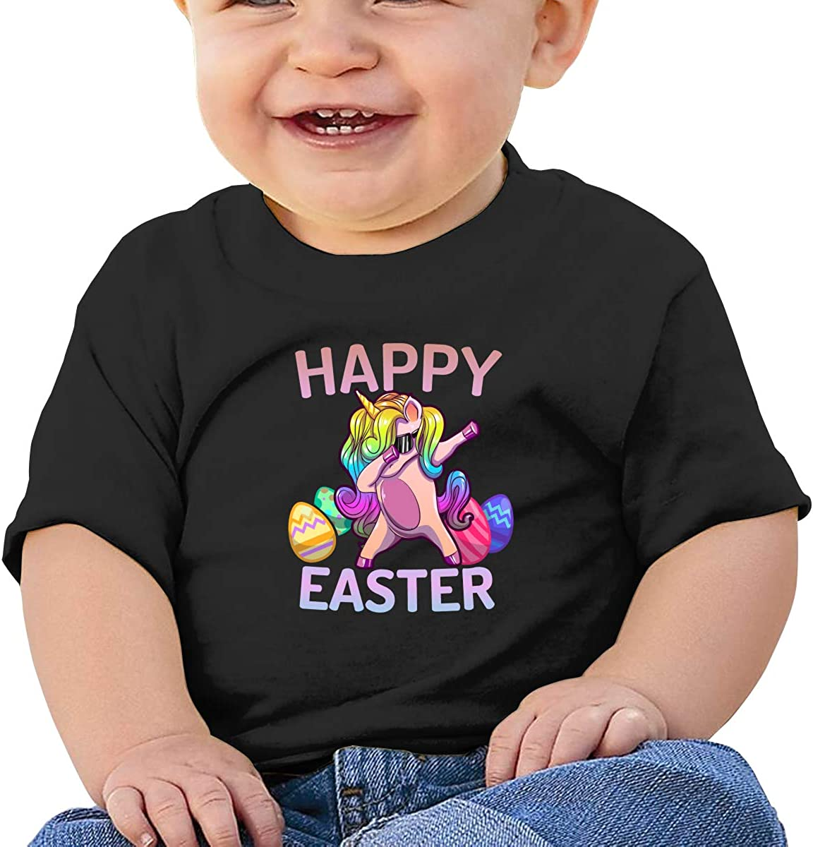 Zippem Happy Easter Dabbing Unicorn Eggs Short Sleeve T-Shirt Best for Baby Toddler//Infant Kids T-Shirt Close Skin Soft