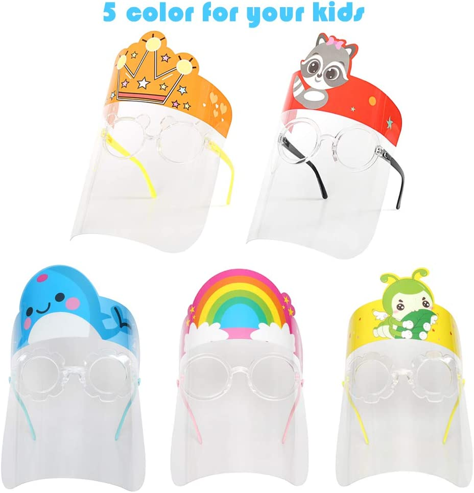 CoutureBridal 5 PCS Childrens Face Bandanas Cartoon Anti-Fog Lightweight Washable Reusable Face Bandanas for Kids