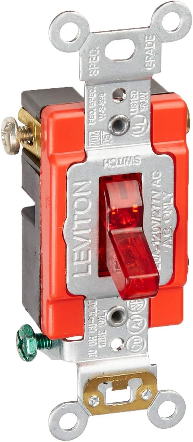 Leviton 1221-PLR 20-Amp, 120 Volt, Toggle Pilot Light, Illuminated On, Req, Neutral Single-Pole AC Quiet Switch, Extra Heavy Duty Grade, Self Grounding, Red