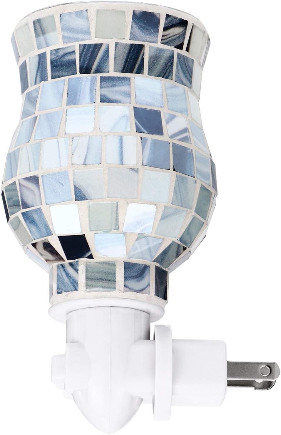 Uonlytech Plug- in Fragrance Wax Melt Warmers Glass Mosaic Oil Warmer Home Fragrance Diffuser Night Lamp Blue