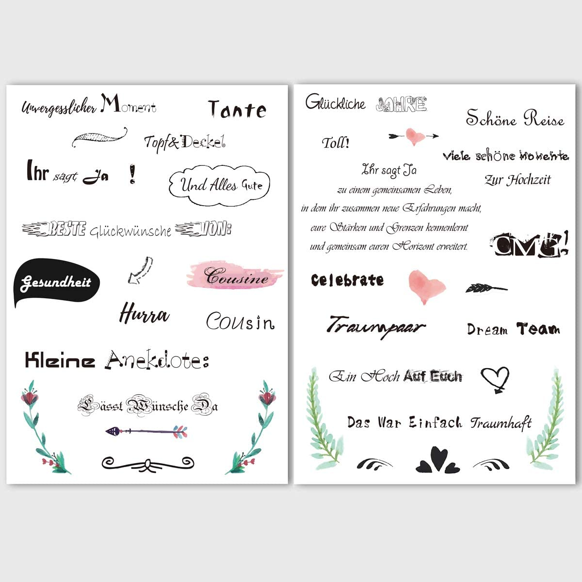 aquarelles Scrapbooking Design 175 autocollants belles /énonciations autocollants KASZOO livre dor mariage autocollants