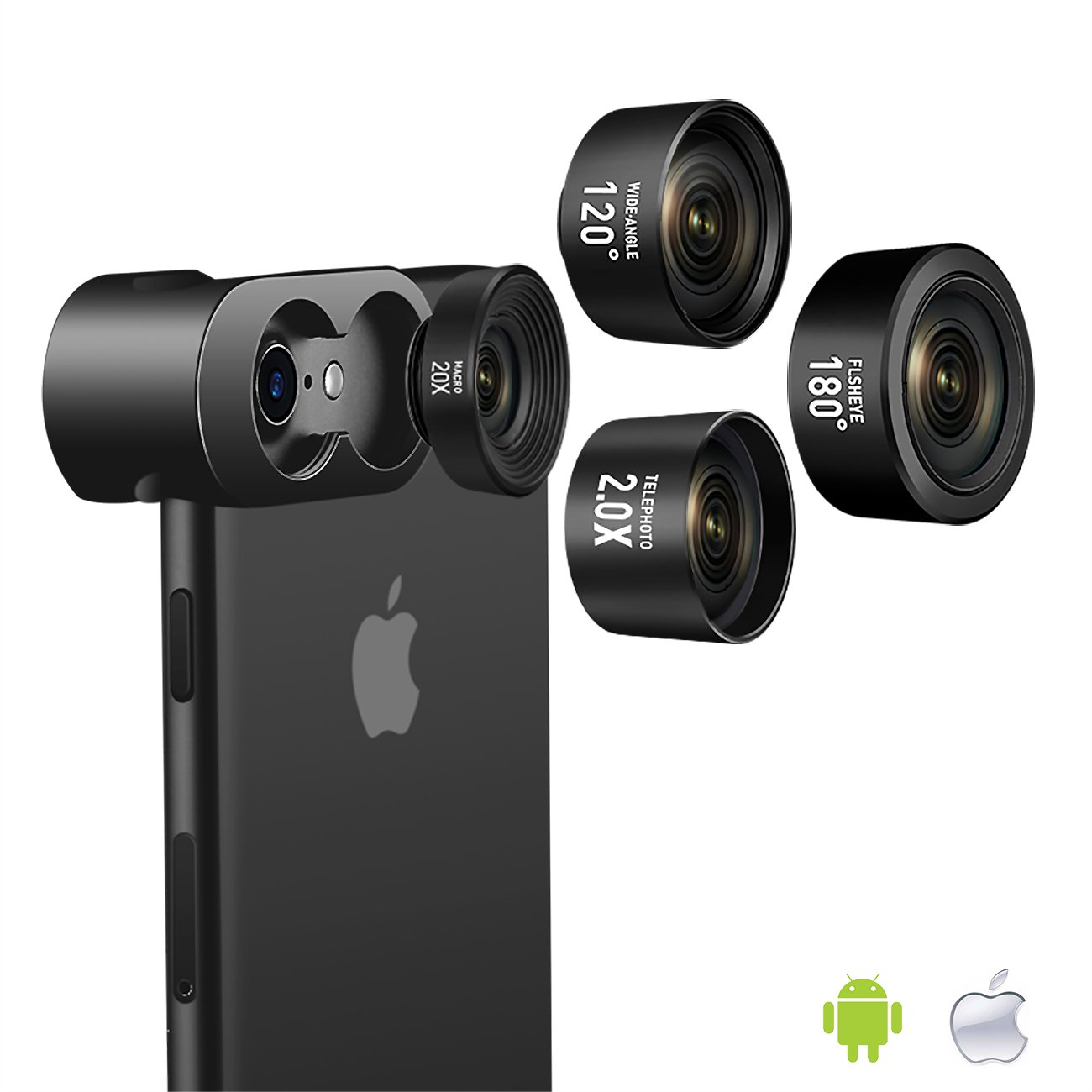 Cell Phone Camera Lens, Jopree 4 in 1 Camera Lens Kit, 20X Macro Lens, 2.0X Zoom Telephoto Lens, 120°Wide Angle Lens, 180°Fisheye Lens for iPhone X/8/7/7 Plus/6s/6s Plus/6/5 & Samsung & Smartphones