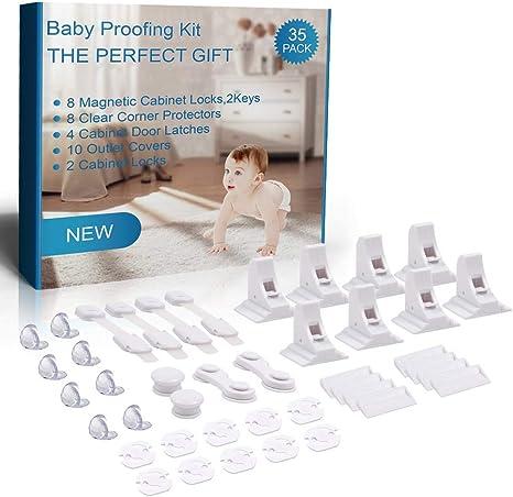 Mookis 35 Piezas Kit Seguridad Bebe Baby Proofing Kit Cerraduras Invisible Magnéticas de Seguridad para Niños Bebé de Seguridad Bloqueo Protector Enchufes Protector de Seguridad para Niños: Amazon.es: Bebé