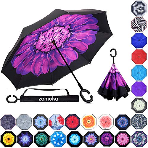 Zameka Double Layer Inverted Umbrellas Reverse Folding Umbrella Windproof UV Protection Big Straight Umbrella Inside Out Upside Down for Car Rain Outdoor with C-Shaped Handle (D Purple)