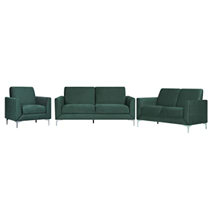 Groovy Beliani Modern 3 Piece Green Living Room Sofa Set Velvet Gmtry Best Dining Table And Chair Ideas Images Gmtryco
