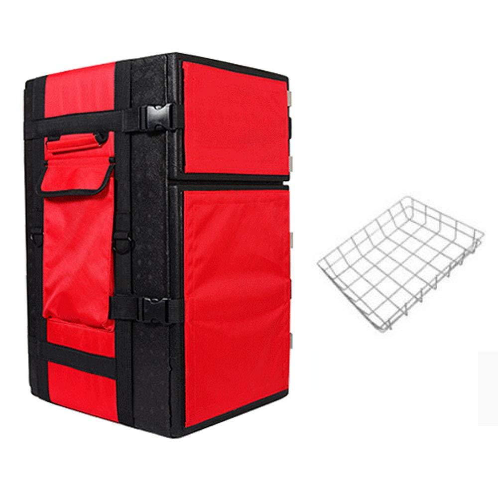 Sac d'isolation matériel épais de PP 55L, Sac de Pizza Rouge/Noir, incubateur à emporter, Sac épais de Livraison, Sac de Pizza de Double épaule (Couleur : Red)