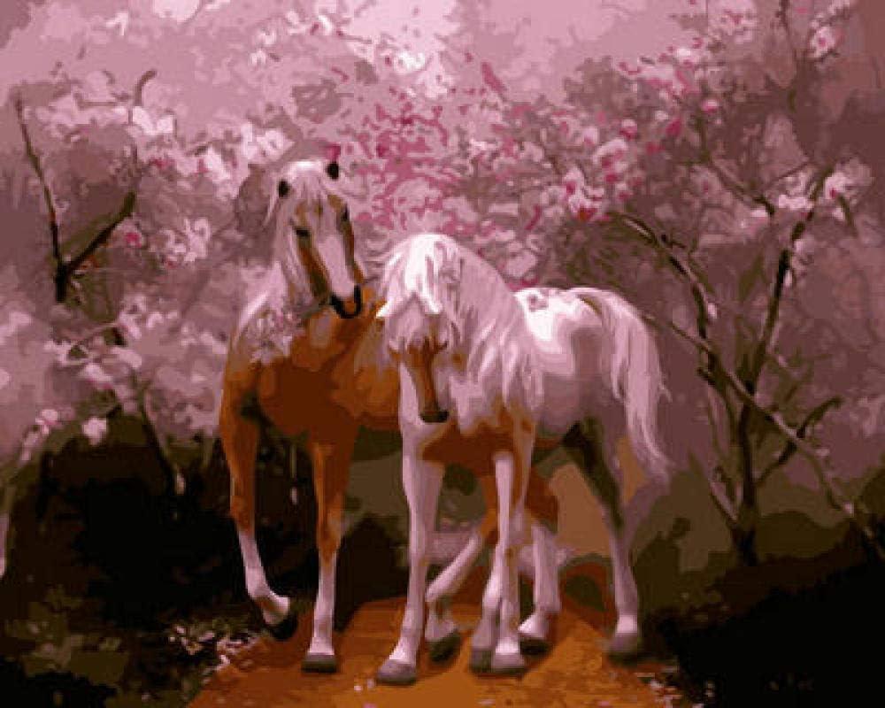 Cuadro de pintura al óleo con números, cuadro de número Kits, regalo para mujeres, mamá, hija, Navidad, cumpleaños, hogar, hogar, decoración de dos caballos
