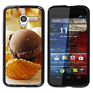 CASECO - Motorola Moto X 1 1st GEN I - Chocolate Ice Crea - Delgado Negro Plástico caso cubierta Shell Armor Funda Case Cover - Chocolate Crea Hielo