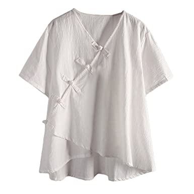 824d4ae0121 Image Unavailable. Image not available for. Colour: Juqilu Women's Linen  Tee Shirt New Cotton Linen Tunic Tee Shirt Jacquard Tops ...