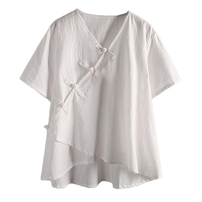 Juqilu Mujer Camisa Blusa de Lino Suave Transpirable Retro Sencillo Manga Larga Suelta Blusa Primavera Verano