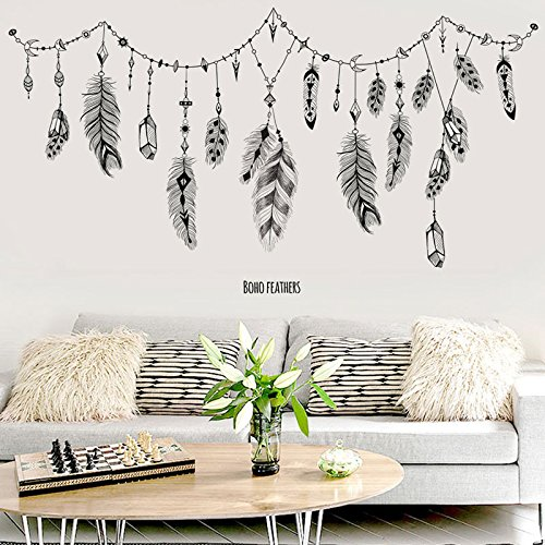FangKuai FKAL0349 Large Size Black Feather Hang Decorations Wall Sticker Kids Rooms Room Decoration Muurstickers Voor Kinderen Kamers Dcor