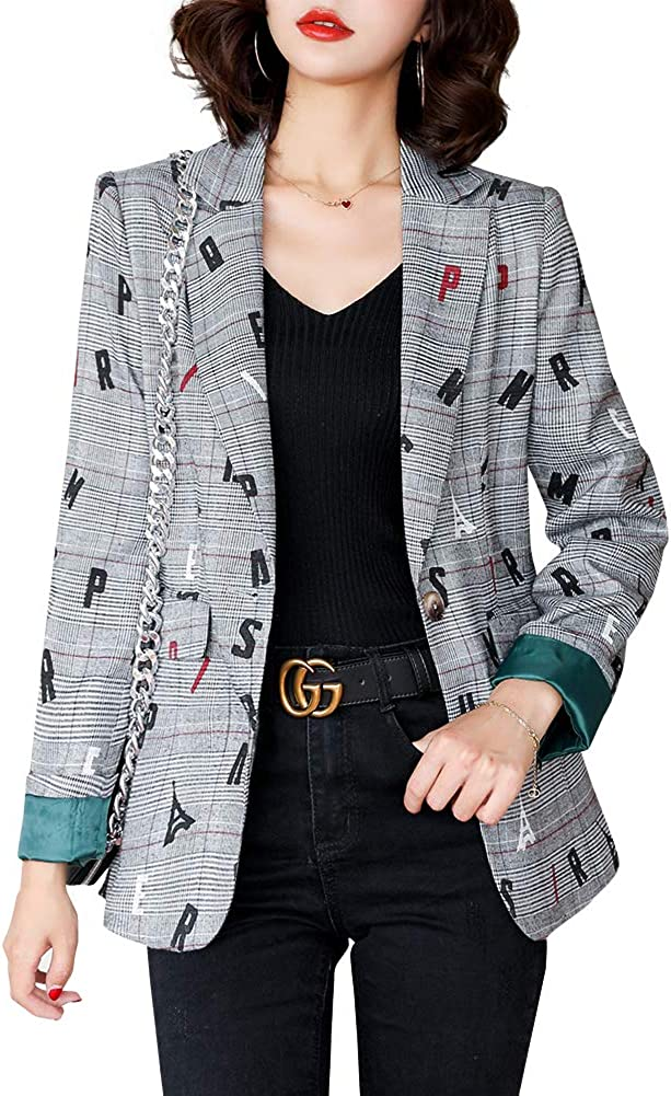 LISUEYNE Blazer da Donna Plaid Giacca Slim Fit One Button