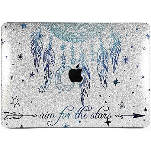 Lex Altern Glitter MacBook Case Pro 15 Air 13 inch 11 12 2018 Mac Dreamcatcher 2017 Bling Blue Stars Retina Hard Cover Boho 2016 Shiny Protective Print Sparkly Feather Silver Moon Glossy Women Kids