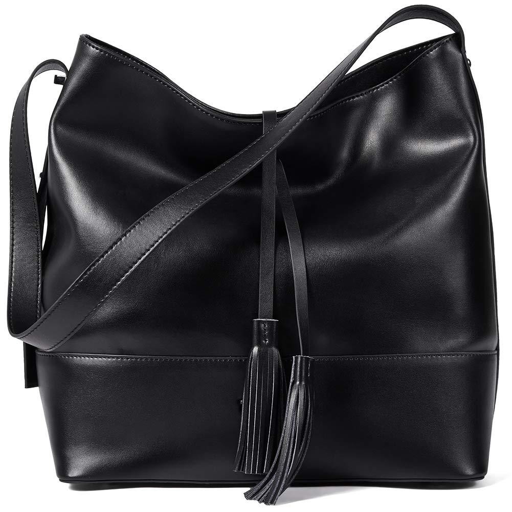 0cedf1eaf509 Amazon.com  BOSTANTEN Women Leather Shoulder Bucket Handbag Tote Top-handle  Purse Black  Shoes