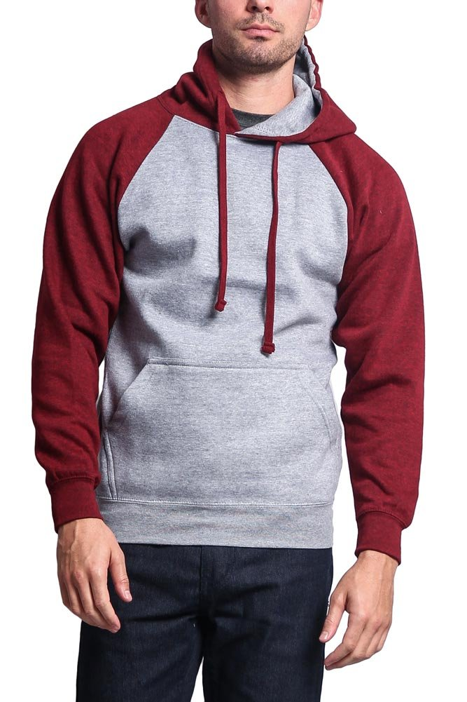 G-Style USA Hv. Ct. Raglan Sleeve Pullover Hoodie MH13112 - Heather Grey/Cranberry Caviar - Large - AA8A by G-Style USA