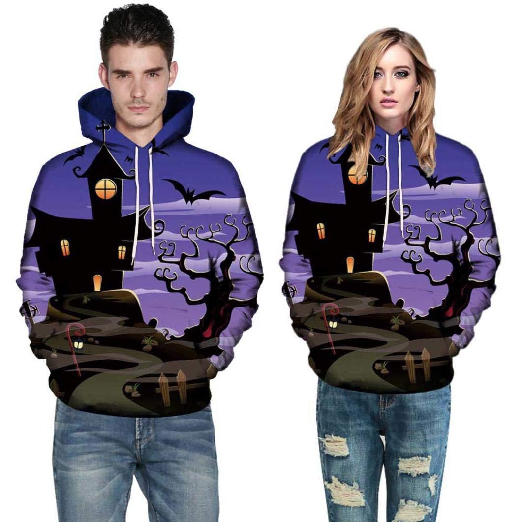 Men Women Mode 3D Print Autumn Winter Casual Long Sleeve Halloween Couples Hoodies Top Blouse Shirts Outwear (2XL, Purple)
