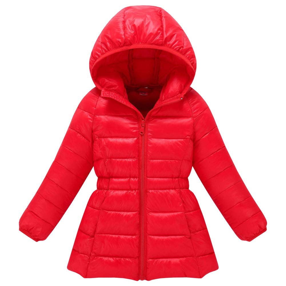 M&A Girls Long Puffer Jacket Outerwear Lightweight Hooded Winter Coat