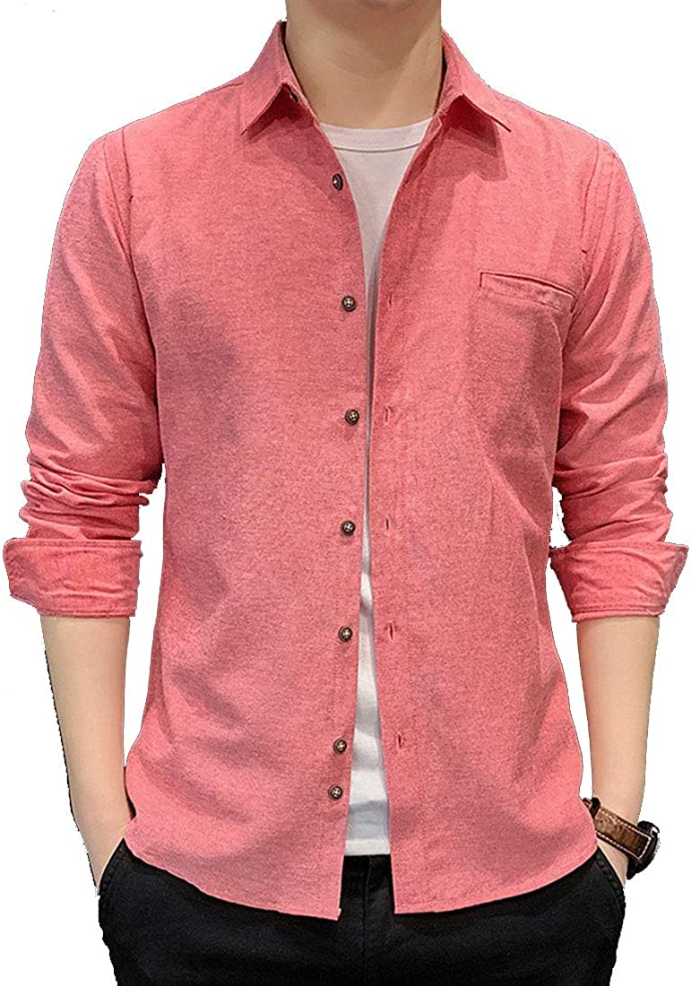 Alion Men Oxford Dress Shirt-Cotton Casual Regular Fit Long Sleeve Shirt