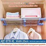 Hershii Closet Tension Shelf & Rod Expandable Metal Storage Rack Adjustable Organizer DIY Divider Separator for Cabinet Wardrobe Cupboard Kitchen Bathroom - 4 Colors