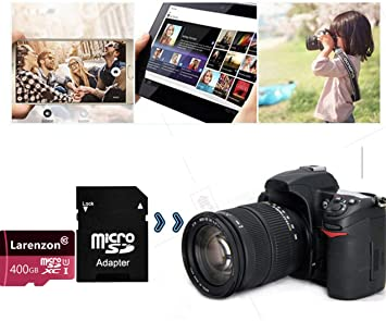 Larenzon Micro SD Tarjeta 400 GB, microSDXC 400 GB Class 10 Tarjeta de Memoria + Adaptador SD (H150-VI) (400GB)