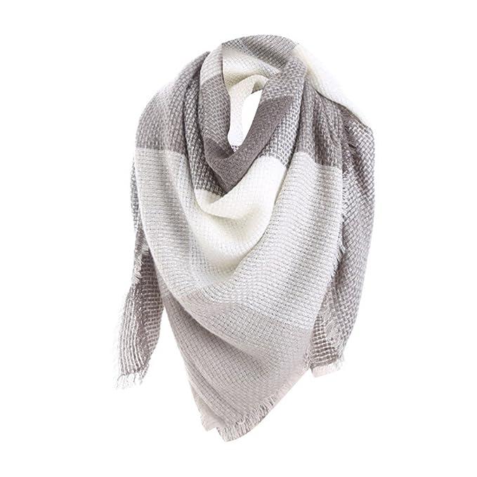f239fde018be0 Amazon.com: KFSO Women's Fall Winter Scarf Classic Tassel Plaid Scarf Warm  Soft Chunky Large Blanket Wrap Shawl Scarves (Gray): Clothing