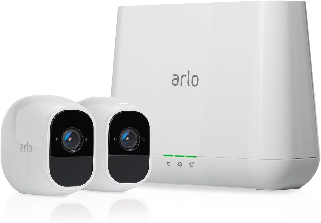 Arlo Pro 2 VMS4230P-100EUS - Sistema de seguridad y vídeo vigilancia de 2 cámaras sin cables 1080p HD (recargable, interior/exterior, visión nocturna, audio bidireccional, visión 130º)